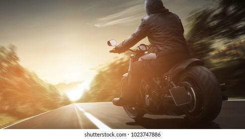 Motorcyclist enjoys the ride
