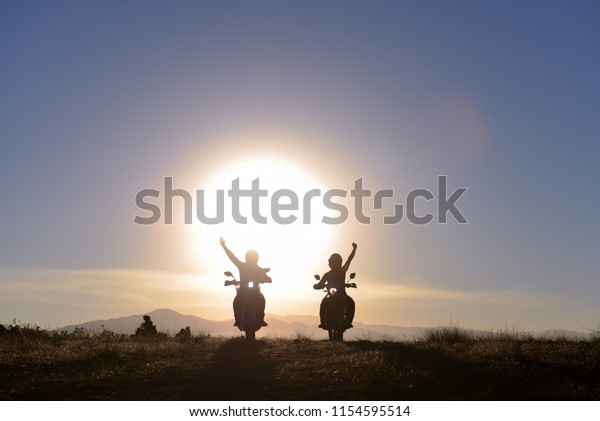 motorcyclist greeting, successful travel and free positive power