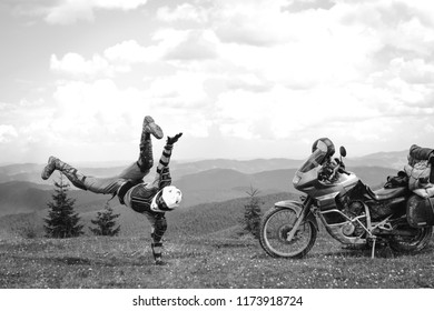 Motorcyclist man and Adventure Motorbike with beautiful mountains. Motorcycle trip. off road Traveling, Lifestyle Travel vacations sport outdoor concept.