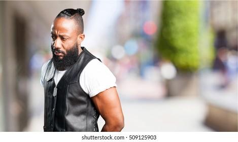 motorcyclist man thinking
