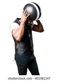 motorcyclist man wearing an helmet