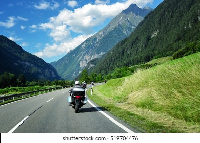 Motorcyclists in the Alps
