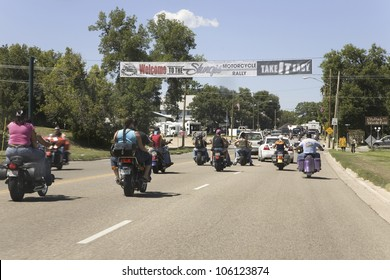 Motorcyclists entering Sturgis for the 67th Annual Sturgis Motorcycle Rally, Sturgis, South Dakota, August 6-12, 2007