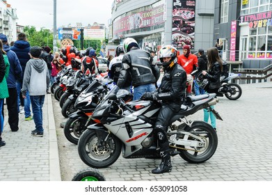 Motorcyclists are on their bikes in a row. Ivano Frankivsk. Ukraine. 05/14/2017