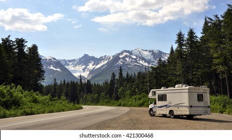 Motorhome above Haines Alaska