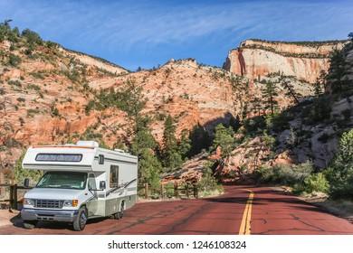 Motorhome along a road through Zion National Park, USA
