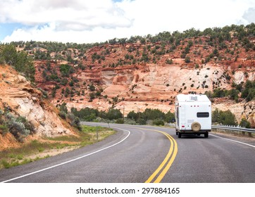 Motorhome on the road to Bryce canyon, modern trailer