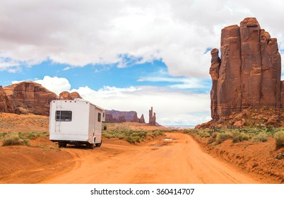 Motorhome on the road in Monument Valley, Utah, USA