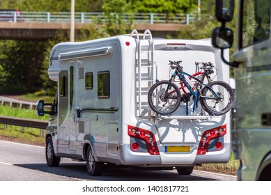motorhome on uk motorway in fast motion