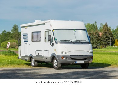 A motorhome in a parking lot