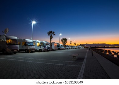 Motorhome parking in Gibraltar by night