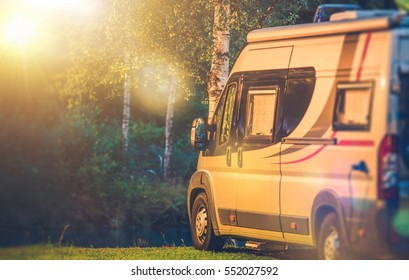 Motorhome RV Camping Spot. Camper Van Camping Recreation Time.