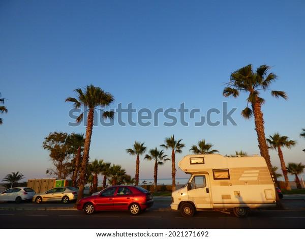Motorhome in  Spain. Travel Photo
