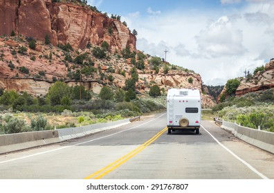 Motorhome trailer on the road in Monument Valley, Utah, USA