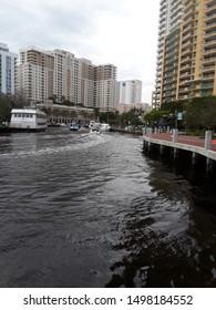 Motoring down the Tarpon River in Fort Lauderdale by the Riverwalk