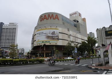Motorists were riding in front of Gama Supermarket and Department Store, George Town, Malaysia (18 September 2016)
