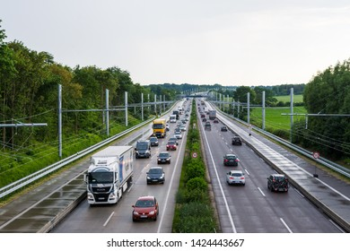 Motorway A1 near Luebeck, Schleswig-Holstein, Germany, June, 14, 2019. e-highway ehighway Test track for e-mobility for trucks with overhead lines