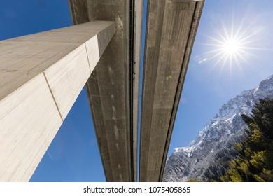 Motorway bridge of the Gotthard motorway photographed from below in Reusstal valley, Central Switzerland