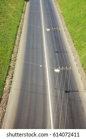 motorway in a city. Empty road without cars. trolley wire