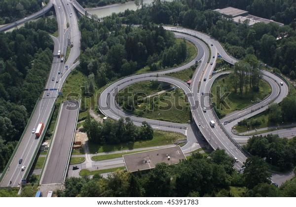 motorway cross in austria (Rheintalautobahn Bregenz Kennelbach)