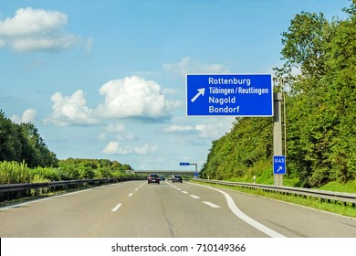 motorway road sign on (Autobahn 81 / A 81 / E 531) direction to city Herrenberg / Stuttgart - exit Rottenburg - Tubingen / Reutlingen - Nagold - Bondorf
