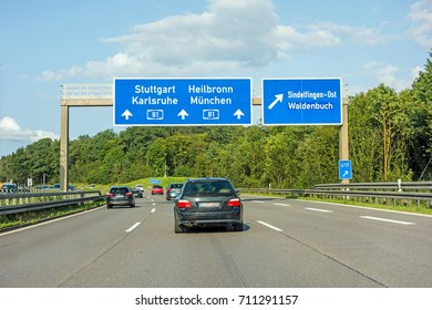 motorway road sign on (Autobahn 81 / A 81 / E 531) freeway interchange Stuttgart  Karlsruhe - Heilbronn / Munich (Munchen) - exit Sindelfingen / Waldenbuch