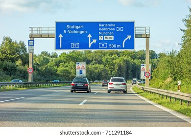 motorway road sign on (Autobahn 81 / A 81 / E 531) freeway interchange Stuttgart  Karlsruhe - Heilbronn / Munich (Munchen) - Airport / Messe