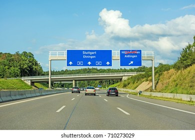 motorway road signs on (Autobahn 81 / A 81 / E 531) direction Stuttgart / Ehningen - exit to Hildrizhausen (axed) and Aidlingen