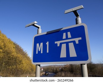 Motorway sign for the M1 near Chesterfield,Derbyshire,England.. taken 20/11/2013