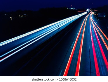 motorway traffic at night
