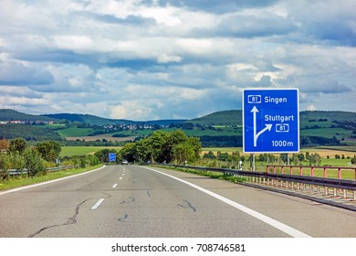 motoway road sign on (Autobahn 81 / A 81 / E 531) - exit to city Stuttgart - direction to city Singen