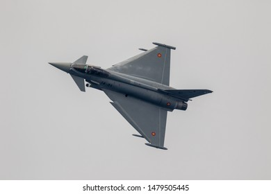 MOTRIL, GRANADA, SPAIN-JUN 09: Aircraft Eurofighter Typhoon C-16 taking part in a exhibition on the 12th international  airshow of Motril on June 09, 2017, in Motril, Granada, Spain