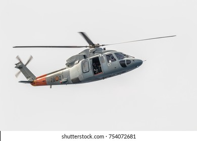 MOTRIL, GRANADA, SPAIN-JUN 09: Helicopter Sikorsky S-76C taking part in an exhibition on the 12th international airshow of Motril on Jun 09, 2017, in Motril, Granada, Spain