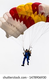 MOTRIL, GRANADA, SPAIN-JUN 10: Parachutist of the PAPEA taking part in an exhibition on the 12th international airshow of Motril on Jun 10, 2017, in Motril, Granada, Spain
