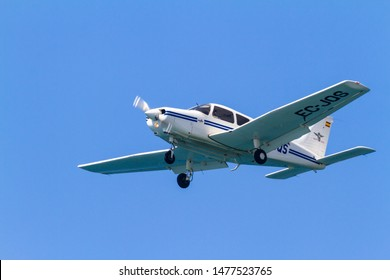 MOTRIL, GRANADA, SPAIN-JUN 11: Aircraft Piper PA-28-161 Warrior III taking part in a exhibition on the 12th international  airshow of Motril on June 11, 2017, in Motril, Granada, Spain