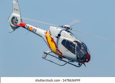 MOTRIL, GRANADA,  SPAIN-JUN 15: Patrulla Aspa, Helicopter Eurocopter EC-120 Colibri taking part in an exhibition on the 13th airshow of Motril on June 15, 2018, in Motril, Granada, Spain