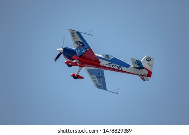 MOTRIL, GRANADA,  SPAIN-JUN 17: Aircraft Extra 200 of Melanie Astles taking part in an exhibition on the 13th airshow of Motril on June 17, 2018, in Motril, Granada, Spain