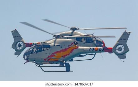 MOTRIL, GRANADA,  SPAIN-JUN 17: Patrulla Aspa, Helicopter Eurocopter EC-120 Colibri taking part in an exhibition on the 13th airshow of Motril on June 17, 2018, in Motril, Granada, Spain