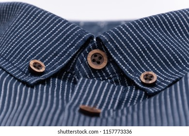 Mottled fabric denim style fine stuff soft material collar with buttons