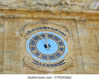 The motto of Yverdon-les-Bains on the temple clock - 'Superna quaerite' (Set your minds on things above - the Bible)