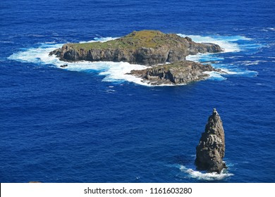 Motu Nui Island, with the smaller Motu Iti Island and the Motu Kao Kao Sea Stack as seen from Orongo Village on Easter Island, Chile