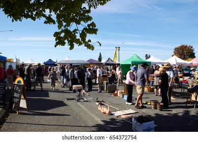 MOTUEKA, NEW ZEALAND - 04 JUNE 2017: Morning market at Motueka on Sunday