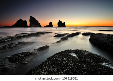 Motukikie Rocks, West Coast, New Zealand at Dusk