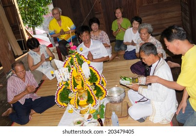 MOUANG,UBONRATCHATHANI , THAILAND- APRIL 25 ; Unidentified  thai - esan  villagers perform Baci Su kwan ceremony  on April 25 ,2014 in Mouang,Ubonratchathani,Thailand