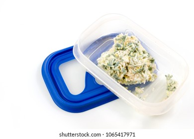 Mould on rice, moldy on food in a box food isolated on white background.