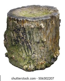 The mouldering oak stub when that was used in the village to chop meat and to chop off to chickens of the head. The good idea for Halloween. Isolated with patch