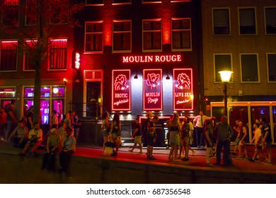 Moulin Rouge Bar and sex shop in Amsterdam - red light district  - AMSTERDAM / THE NETHERLANDS - JULY 19, 2017