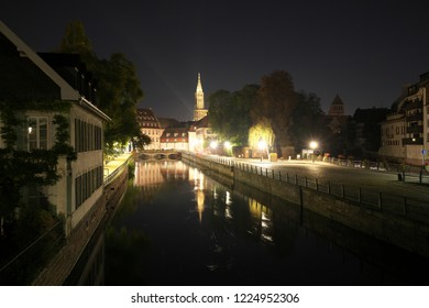Moulins Square or Suzanne-Lacore Square near the Vauban Dam or the Great Lock early in the morning in Strasbourg, France