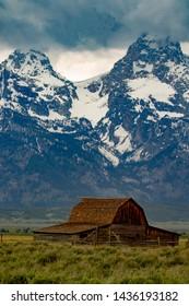 Moulton Barn under storm in Grand Teton National Park