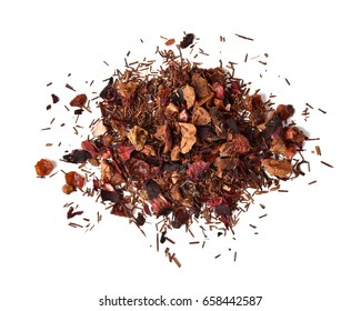 A mound of healthy rooibos tea infused with strawberry and kiwi fruit
